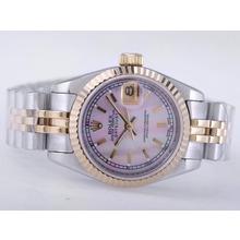 Replique Rolex Datejust Swiss ETA 2671 Mouvement deux tons avec MOP Dial-Stick Taille Pink Lady Marquage - Montre Rolex DateJust attrayant pour vous 21477