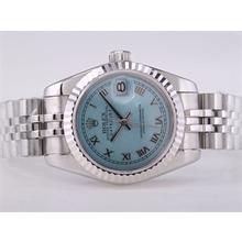 Replique Rolex Datejust Swiss ETA 2671 Mouvement avec cadran bleu clair-romaine Taille Dame Marquage - Attractive montre Rolex DateJust pour vous 21409