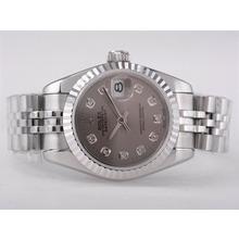 Replique Rolex Datejust Swiss ETA 2671 Mouvement avec cadran Taille-Diamant Marquage Gris Lady - Montre Rolex DateJust attrayant pour vous 21377