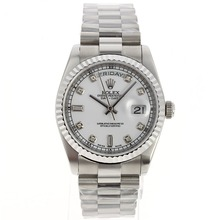 Replique Rolex Day-Date Swiss ETA 2836 Mouvement avec cadran blanc-Diamant Marquage - Attractive montre Rolex Day Date 22429 pour vous