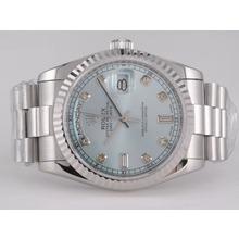Replique Rolex Day-Date Swiss ETA 2836 Mouvement avec cadran bleu clair-Diamant Marquage - Attractive montre Rolex Day Date 22427 pour vous
