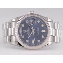Replique Rolex Day-Date Swiss ETA 2836 Mouvement avec cadran bleu-Diamant Marquage - Attractive montre Rolex Day Date 22425 pour vous