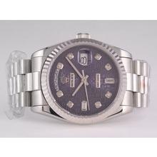 Replique Rolex Day-Date Swiss ETA 2836 Mouvement avec cadran bleu ordinateur-Diamant Marquage - Attractive montre Rolex Day Date 22423 pour vous