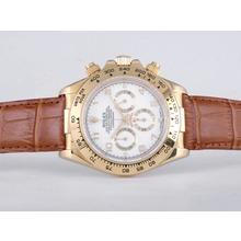 Replique Rolex Daytona Chronographe de travail boîtier en or avec cadran blanc-marquage Nombre Verre Saphir - Attractive Rolex Daytona Montre pour vous 23847