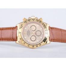 Replique Rolex Daytona Chronographe de travail boîtier en or avec Golden Dial-Stick Marquage verre de saphir - Attractive Rolex Daytona Montre pour vous 23846