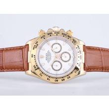 Replique Rolex Daytona Chronographe de travail boîtier en or avec cadran blanc-Stick Marquage verre de saphir - Attractive Rolex Daytona Montre pour vous 23845