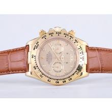 Replique Rolex Daytona Chronographe de travail boîtier en or avec Golden Dial-Marquage Sapphire Diamond Glass - Attractive Rolex Daytona Montre pour vous 23844