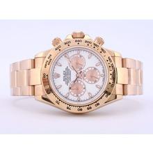 Replique Rolex Daytona Chronographe Suisse Valjoux 7750 Mouvement boîtier en or rose avec cadran blanc - Attractive Rolex Daytona Montre pour vous 23841