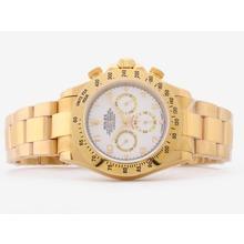 Replique Rolex Daytona Chronograph de travail complet en or avec cadran blanc-marquage Nombre Verre Saphir - Attractive Rolex Daytona Montre pour vous 23840