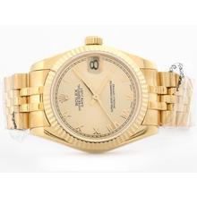 Replique Rolex Datejust Swiss ETA 2836 Cadran pleine d'or avec Roman Marquage Mid-Size - Belle Montre Rolex DateJust pour vous 21184