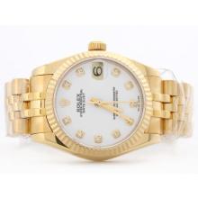Replique Rolex Datejust Swiss ETA 2836 cadran blanc avec FullGold Diamant Marquage-Mid Size - Belle Montre Rolex DateJust pour vous 21183