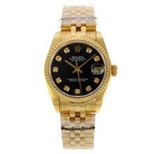 Replique Rolex Datejust Swiss ETA 2836 Cadran noir avec la pleine Diamant Marquage-Mid Size - Belle Montre Rolex DateJust pour vous 21182