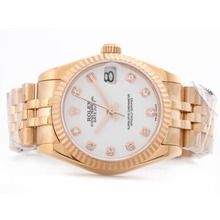Replique Rolex Datejust Swiss ETA 2836 complet en or rose avec cadran blanc Diamant Marquage-Mid Size - Belle Montre Rolex DateJust pour vous 21181