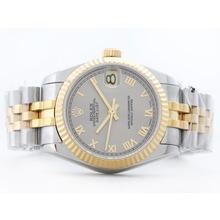 Replique Rolex Datejust Swiss ETA 2836 deux de tonalité grise avec marquage romain-Mid Size - Belle Montre Rolex DateJust pour vous 21180