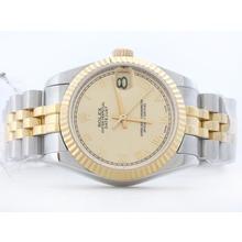 Replique Rolex Datejust Swiss ETA 2836 deux de tonalité d'or avec Roman Marquage Mid-Size - Belle Montre Rolex DateJust pour vous 21179