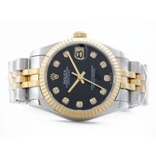 Replique Rolex Datejust Swiss ETA 2836 deux de tonalité noire avec Diamant Marquage-Mid Size - Belle Montre Rolex DateJust pour vous 21178