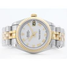 Replique Rolex Datejust Swiss ETA 2836 deux de tonalité blanche avec Roman Marquage Mid-Size - Belle Montre Rolex DateJust pour vous 21177