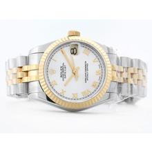 Replique Rolex Datejust Swiss ETA 2836 deux de tonalité blanche avec Roman Marquage Mid-Size - Belle Montre Rolex DateJust pour vous 21171