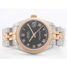 Replique Rolex Datejust Swiss ETA 2836 deux de tonalité noire avec marquage romain-Mid Size - Belle Montre Rolex DateJust pour vous 21170