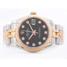 Replique Rolex Datejust Swiss ETA 2836 deux de tonalité noire avec Diamant Marquage-Mid Size - Belle Montre Rolex DateJust pour vous 21169