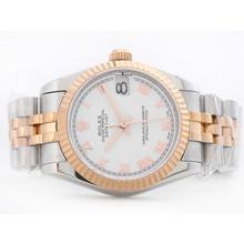 Replique Rolex Datejust Swiss ETA 2836 deux de tonalité blanche avec Roman Marquage Mid-Size - Belle Montre Rolex DateJust pour vous 21168
