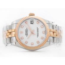 Replique Rolex Datejust Swiss ETA 2836 deux de tonalité blanche avec Diamant Marquage-Mid Size - Belle Montre Rolex DateJust pour vous 21167