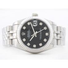 Replique Rolex Datejust Swiss ETA 2836 Cadran noir avec Diamant Marquage-Mid Size - Belle Montre Rolex DateJust pour vous 21165