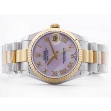 Replique Rolex Datejust Swiss ETA 2836 deux tons rose MOP Dial romaine avec la prise de Mid-Size - Belle Montre Rolex DateJust pour vous 21060