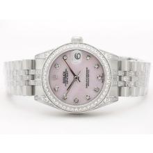 Replique Rolex Datejust Swiss ETA 2836 Cadran rose avec MOP Diamant Marquage et lunette Mid-Size - Belle Montre Rolex DateJust pour vous 21059