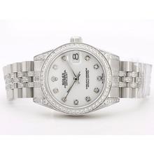 Replique Rolex Datejust Swiss ETA 2836 cadran blanc avec lunette Diamant Marquage et mi-Taille - Attractive montre Rolex DateJust pour vous 21058