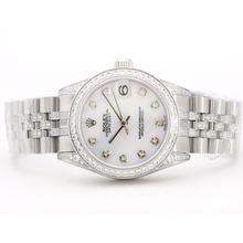 Replique Rolex Datejust Swiss ETA 2836 Cadran rose avec MOP Diamant Marquage et lunette Mid-Size - Belle Montre Rolex DateJust pour vous 21057