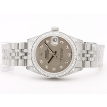 Replique Rolex Datejust Swiss ETA 2836 Mouvement Cadran Gris Avec Diamant Marquage & Lunette Mid-Size - Belle Montre Rolex DateJust pour vous 21055