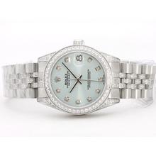 Replique Rolex Datejust Swiss ETA 2836 Mouvement Cadran Bleu Avec Lumière Diamant Marquage & Lunette Mid-Size - Belle Montre Rolex DateJust pour vous 21054