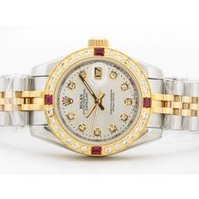 Replique Rolex Datejust Dial Two Tone Case Argent avec Diamand / Ruby Lunette - Attractive montre Rolex DateJust pour vous 21024