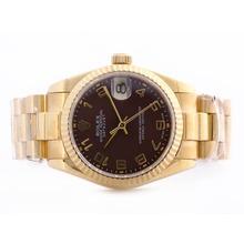 Replique Rolex Datejust Swiss ETA 2836 Mouvement d'or pleine Dial Brown avec l'arabe Marquage Mid-Size - Belle Montre Rolex DateJust pour vous 21023
