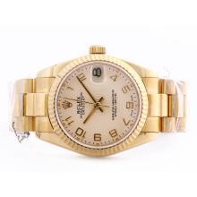 Replique Rolex Datejust Swiss ETA 2836 Mouvement d'or complète avec marquage arabe Mid-Size - Belle Montre Rolex DateJust pour vous 21022