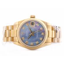 Replique Rolex DateJust suisse ETA 2836 Mouvement Cadran complet MOP Blue Gold avec Diamant Marquage-Mid Size - Belle Montre Rolex DateJust pour vous 21021