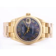 Replique Rolex DateJust suisse ETA 2836 Mouvement Cadran complet MOP Blue Gold avec Roman Marquage Mid-Size - Belle Montre Rolex DateJust pour vous 21020