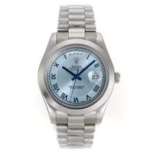 Replique Rolex Day-Date Ⅱ Automatique Cadran Bleu avec Roman Marquage S / S - Attractive Rolex Day Date II Montre pour vous 22977