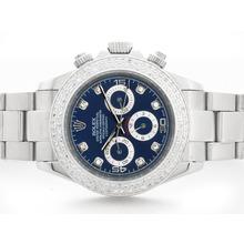 Replique Rolex Daytona automatique cadran bleu avec lunette Diamant Marquage & S / S - Attractive Rolex Daytona Montre pour vous 23780