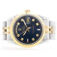Replique Rolex Day Date Automatic SS / YG deux de tonalité bleu avec Diamant Marquage (Gift Box est inclus) - Attractive montre Rolex Day Date 22384 pour vous