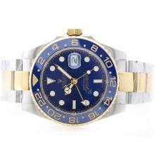 Replique Rolex GMT automatique plaqué or 18k Two Tone avec cadran bleu-bleu lunette en céramique - Attractive Rolex GMT Regarder pour vous 24361