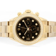 Replik Rolex Daytona Automatic 18K Full Gold Plated Black Dial with Diamond Markers – Attractive Rolex Daytona Watch for You 23744