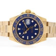 Replique Rolex GMT-Master II automatique or 18 carats plaqué complet avec cadran bleu-bleu lunette en céramique - Attractive Rolex GMT Regarder pour vous 24359