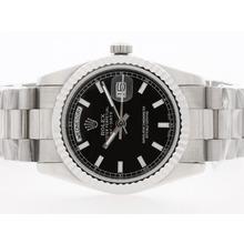 Replique Rolex Day-Date automatique avec cadran noir-Stick Marquage - Attractive montre Rolex Day Date 22383 pour vous