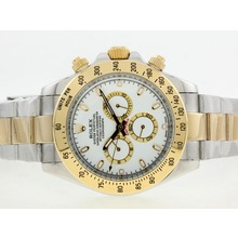 Replique Rolex Daytona II automatique YG / SS Two Tone avec cadran blanc / Stick marquage-42mm version 24190