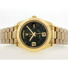 Replique Rolex Day-Date Swiss ETA 2836 Mouvement d'or complète avec cadran Noir Motif Floral - Attractive montre Rolex Day Date 22382 pour vous