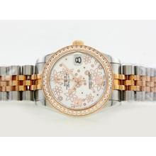 Replique Rolex Datejust Swiss ETA 2836 Mouvement Deux Diamond Bezel Dial Tone avec Motif Floral Argent - Attractive montre Rolex DateJust pour vous 20900