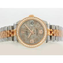 Replique Rolex Datejust Swiss ETA 2836 Mouvement lunette sertie de diamants Deux Tone avec cadran gris Motif Floral - Attractive montre Rolex DateJust pour vous 20899