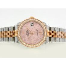Replique Rolex Datejust Swiss ETA 2836 Mouvement Deux Diamond Bezel Dial Tone avec Motif floral rose - Attractive montre Rolex DateJust pour vous 20898